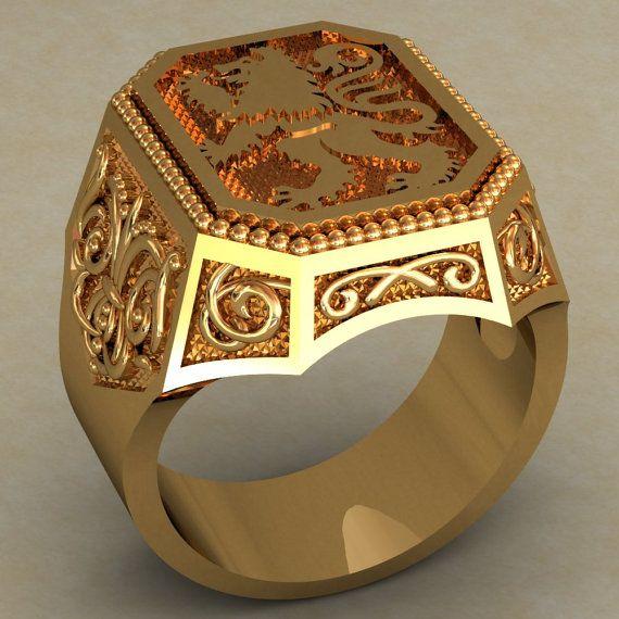 5376c14cffa26 Lion Mens Signet Ring, Lion Signet Ring, Vintage style Men Ring ...