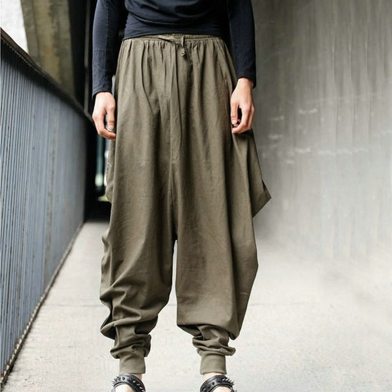 Men Women Japanese Samurai Style Boho Casual Low Drop Crotch
