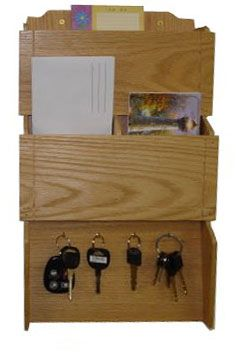 Oak Wood Wall Mount Mail Miscellaneous Organizer With Key Storage