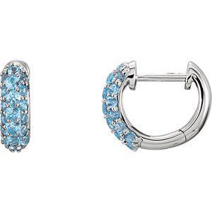 3920578847d22 14kt White Swiss Blue Topaz Earrings Brincos De Argola Dourados