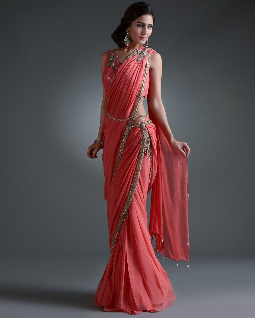 Long dresses to wear to a wedding  Wow Rakhi u Vandana deep pink sari gown   Diwali Closet