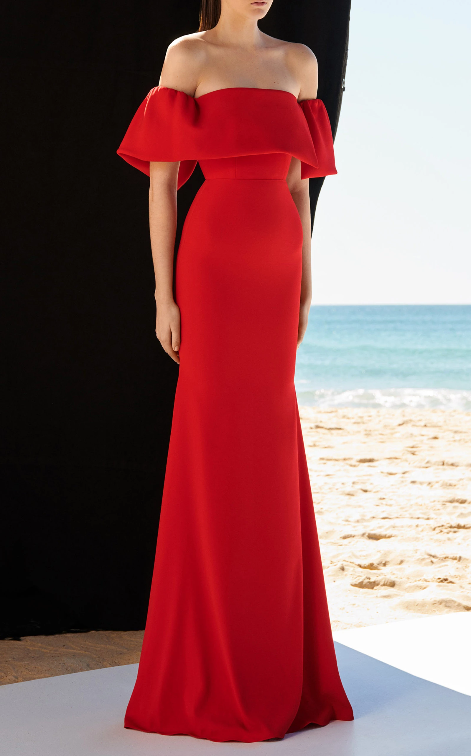 alex perry clemente satin crepe off shoulder gown d484 | red