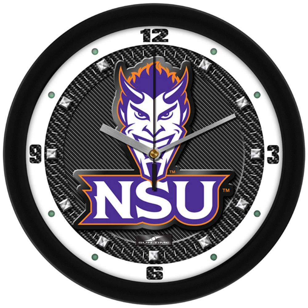 Northwestern State Demons NCAA Carbon Fiber Textured Wall Clock