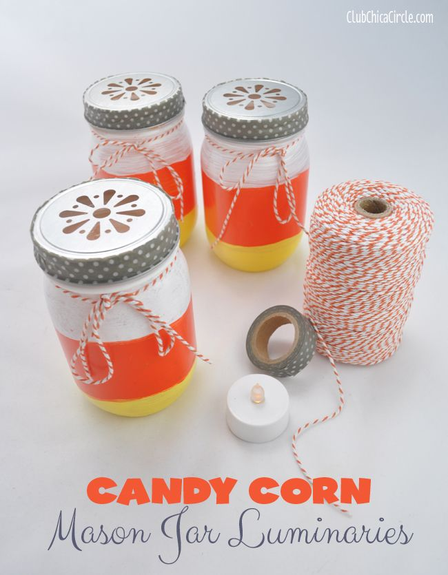 Candy Corn Mason Jar Luminaries diy craft halloween diy crafts - halloween jar ideas