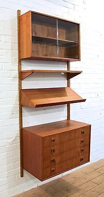 Perfect Vintage 1960s Danish PS System Teak Modular Wall Unit Shelving Cabinet  Drawers