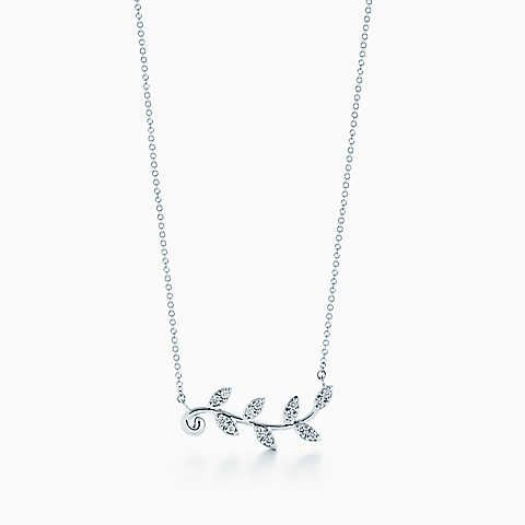 b7753e0fa53a8 Paloma Picasso® Olive Leaf vine pendant in 18k white gold with ...