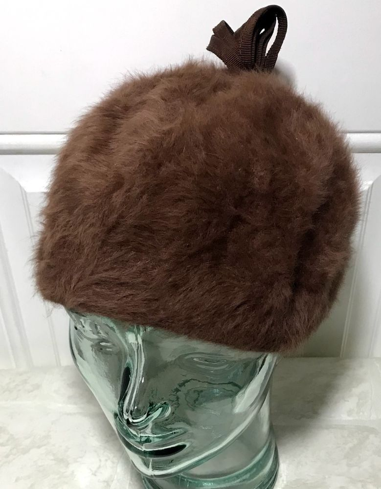 b1e6dcc4dde Vintage Angora Kangol Cloche Hat Made In England Beret Brown Cap  Kangol   Cloche