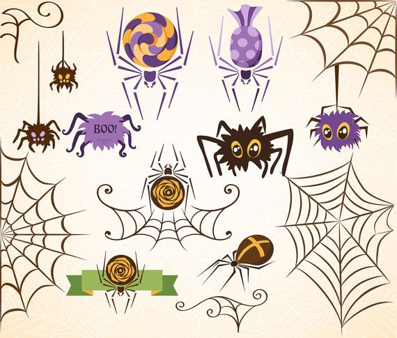 HALLOWEEN Digital Clipart Spider Web Clip Art Scrapbooking Invitations Happy  Halloween Cobweb Printable Digital Graphics Png