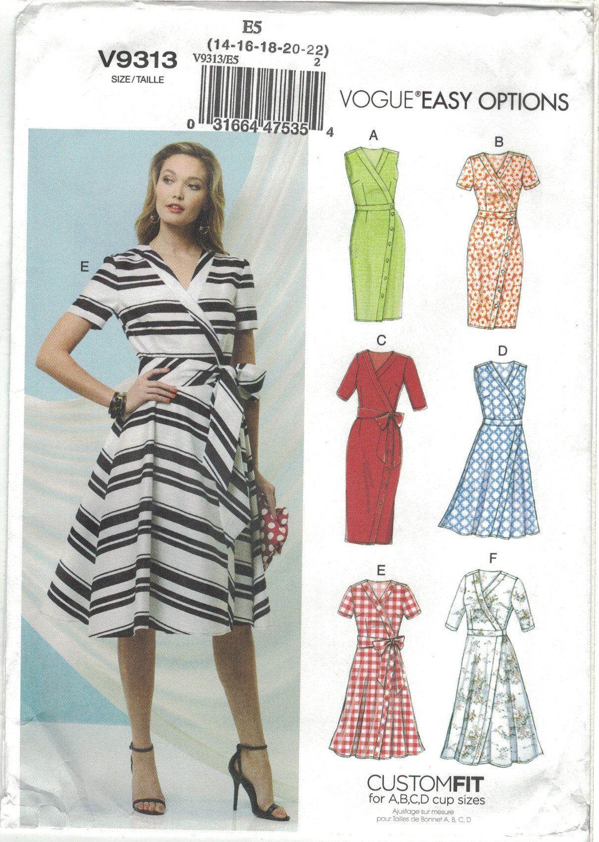 Vogue 9313 Easy Options 6 Wrap Dress Pattern Variations Choose Etsy Wrap Dress Pattern Womens Wrap Dress Vogue Dress Patterns [ 1699 x 1210 Pixel ]