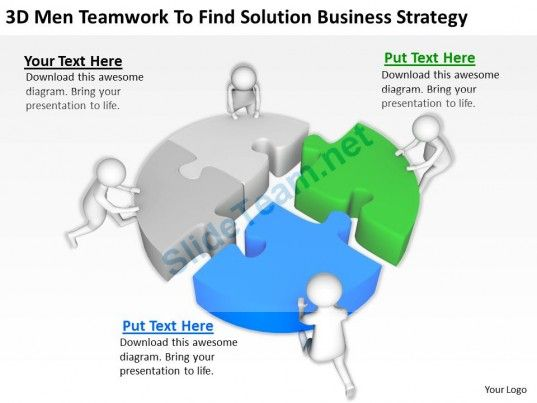 3d men teamwork to find solution business strategy ppt graphics