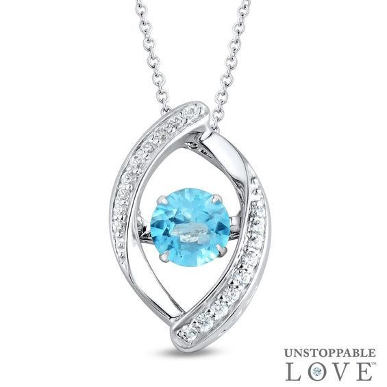 Zales Oval London Blue Topaz Pendant in Sterling Silver with Diamond Accents oakJCBo