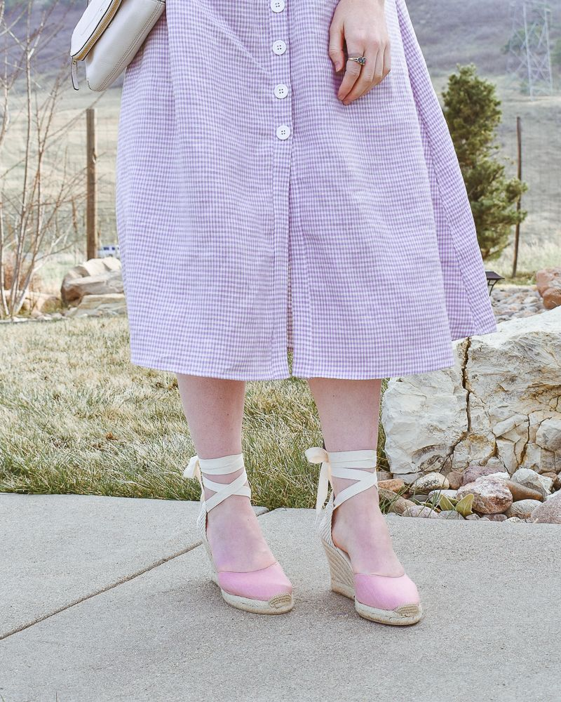 8dc8b3abca09 Soludos tall wedge in dusty rose. Thelma dress Reformation. Gingham dress.  Spring dress. Linen dress. Spring wedding.