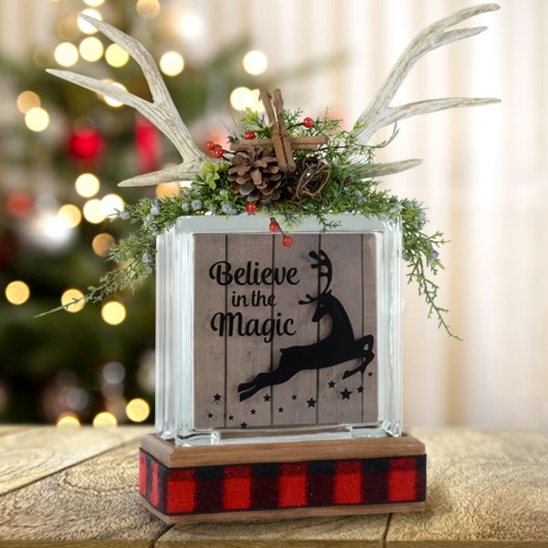 Reindeer glass block - Christmas quotes - Christmas crafts - DIY