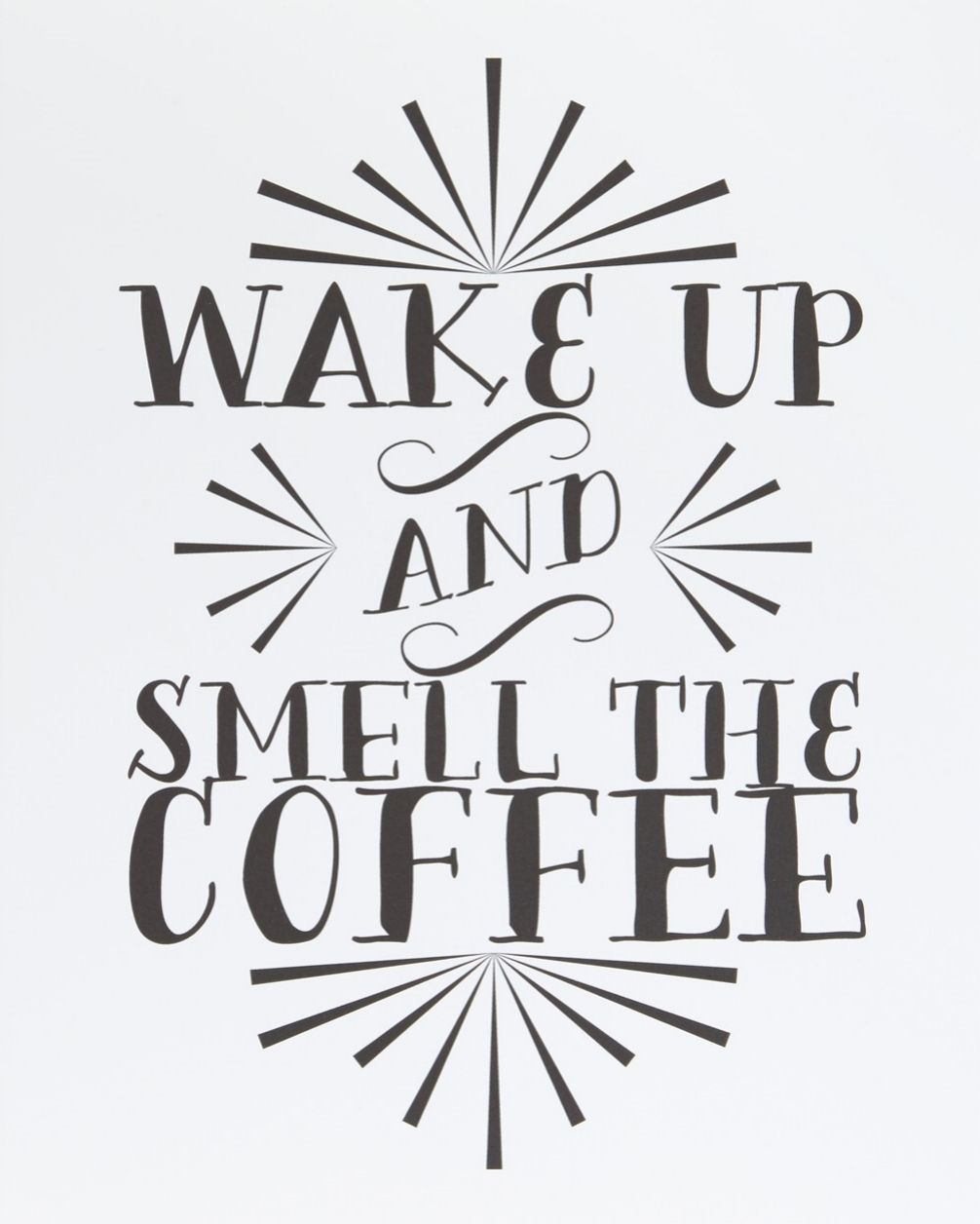 This coffee-centric, hand-lettered art is ideal for framing and adding an eye-catching vintage element to the home.