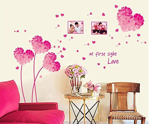 Ufengke Romantic Pink Heartshaped Flowers Photo Frame Wall Decals Living Room Bedroom Removable Wall Wall Vinyl Decor Wedding Room Decorations Home Wall Decor