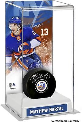 sneakers for cheap 2b16c bb3a8 Mathew Barzal New York Islanders Signed Puck with Deluxe Tall Hockey Puck  Case  Hockey
