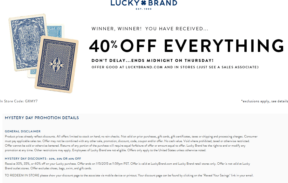 Lucky Brand Coupons 40 Off At Lucky Brand Ditto Online Lucky Coupon Apps Lucky Brand