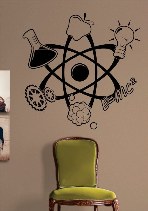 Science atom design decal sticker wall vinyl art home room for Classroom wall mural
