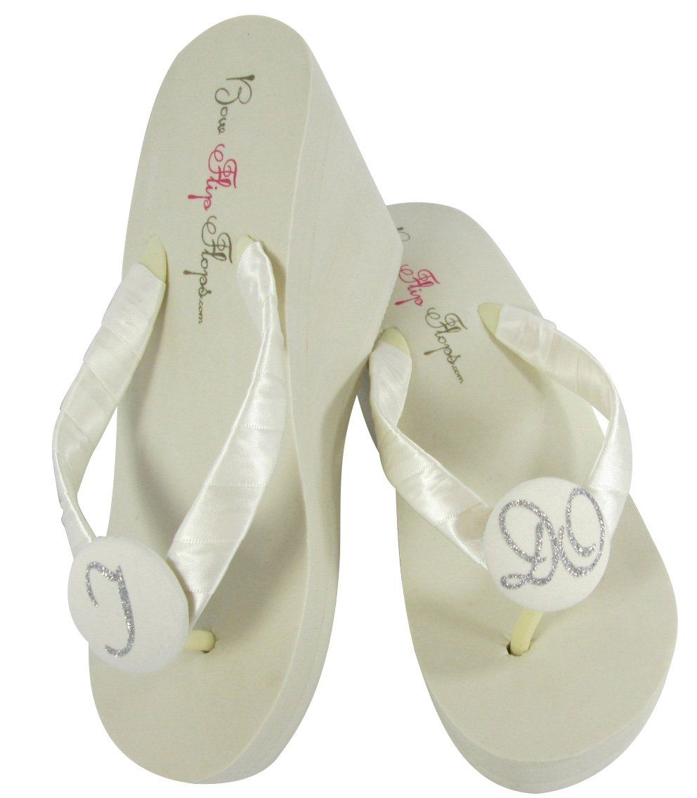 8d137a4e359b High Ivory Wedge I Do Wedding Flip Flops for the Bride - many colors to  choose from