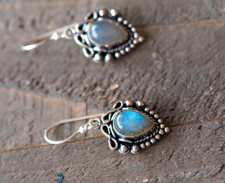 Labradorite Earrings Gemstone Sterling Silver Dangle Jewelry Drop Ooak