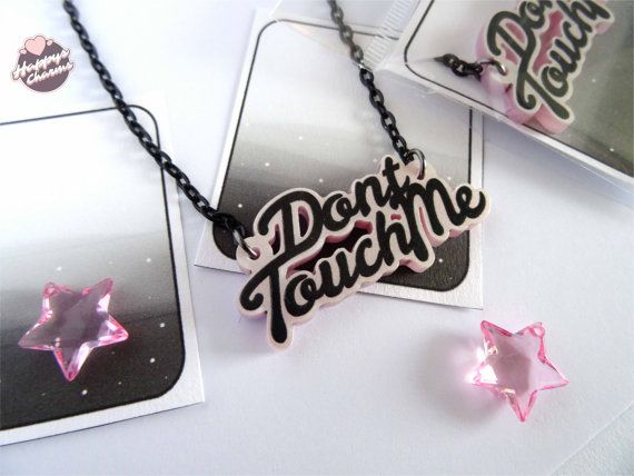 Dont Touch Me Necklace by HappysCharms on Etsy