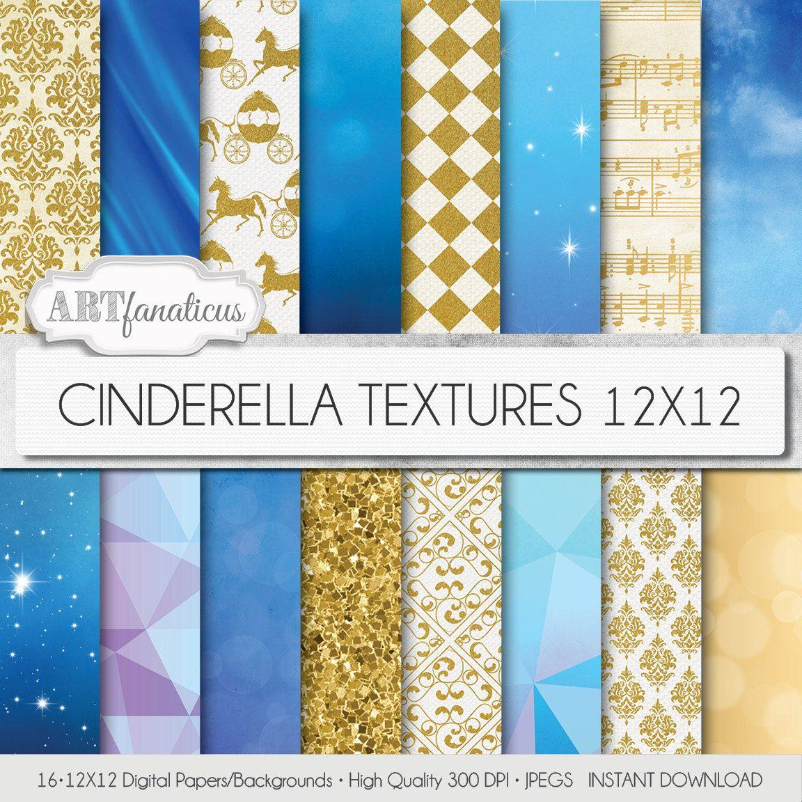 Cinderella Digital Papers Cinderella Textures Inspired By Disneys