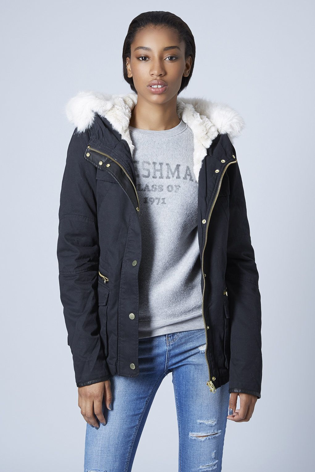 Faux Fur Lined Short Parka Jacket - Parkas - Jackets & Coats ...