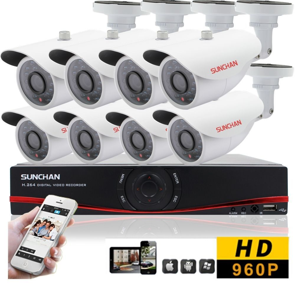8Channel HD Outdoor Security CCTV System 8 960P AHD Cameras 1080N ...