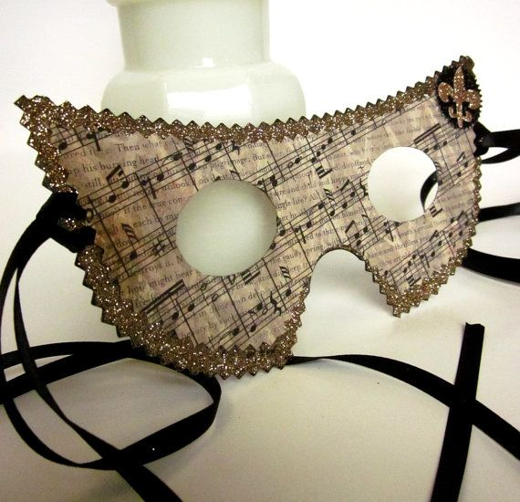 Masquerade Masks Decorations Ideas: Gold And Black And Brown Distressed Sheet Music Themed