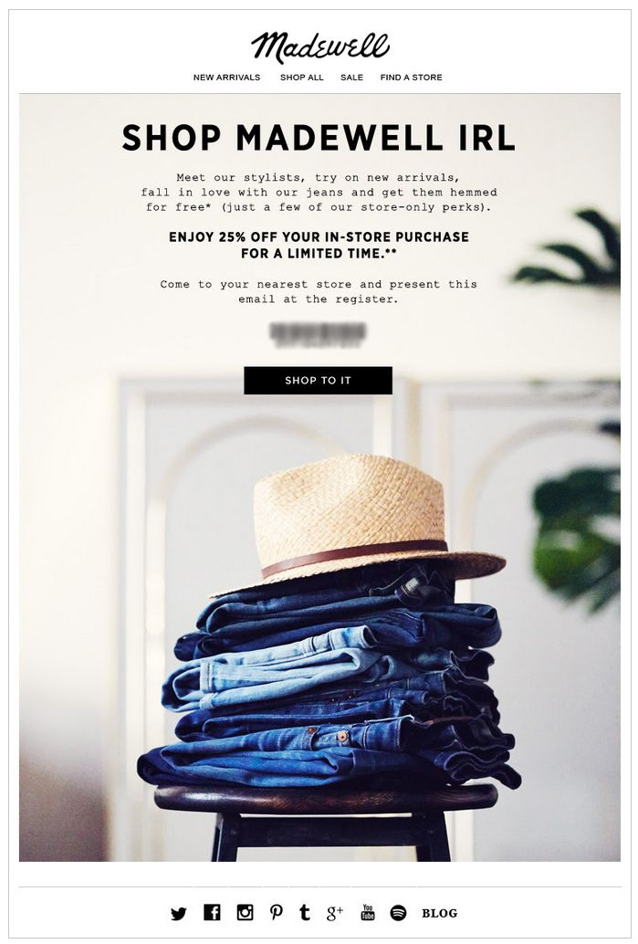 Madewell Eblast Good Example Of Cross Channel Promotions Subject Line 25 Off More Perks Irl Shopping Madewell Shopping Hats