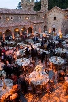 Courtyard For Reception At Castello Di Amorosa Winery Napa Valley California Usa Put White D Tent Above With Lights Strung Inside