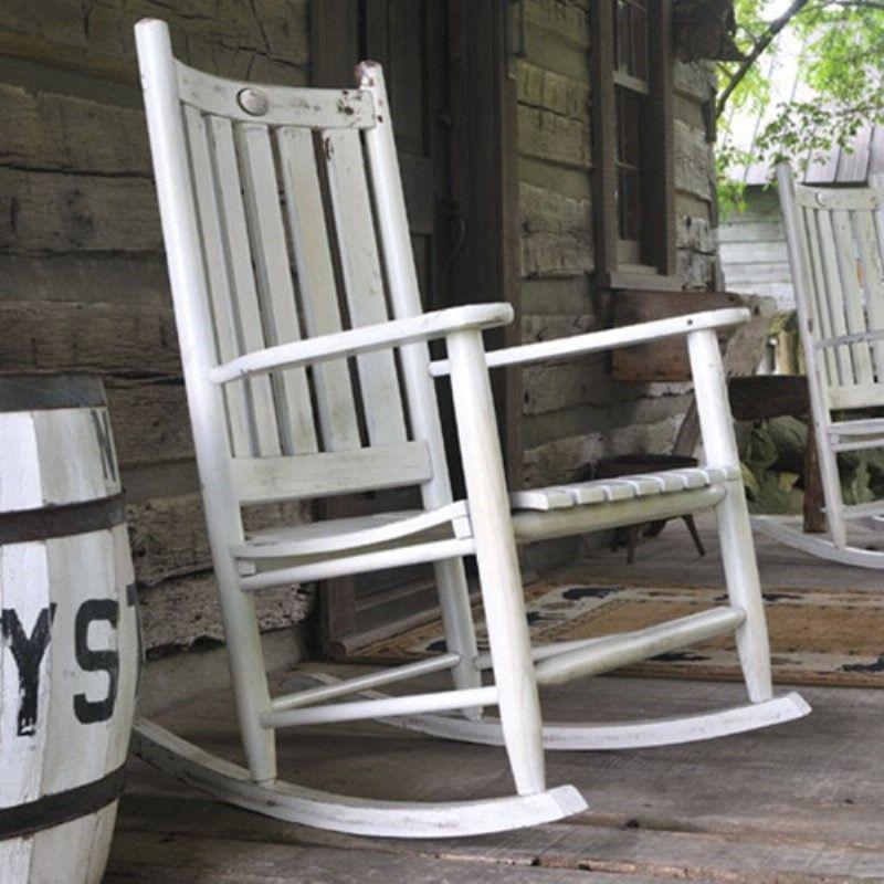White Wooden Rocking Chair Schaukelstuhl Stuhle Und Holz