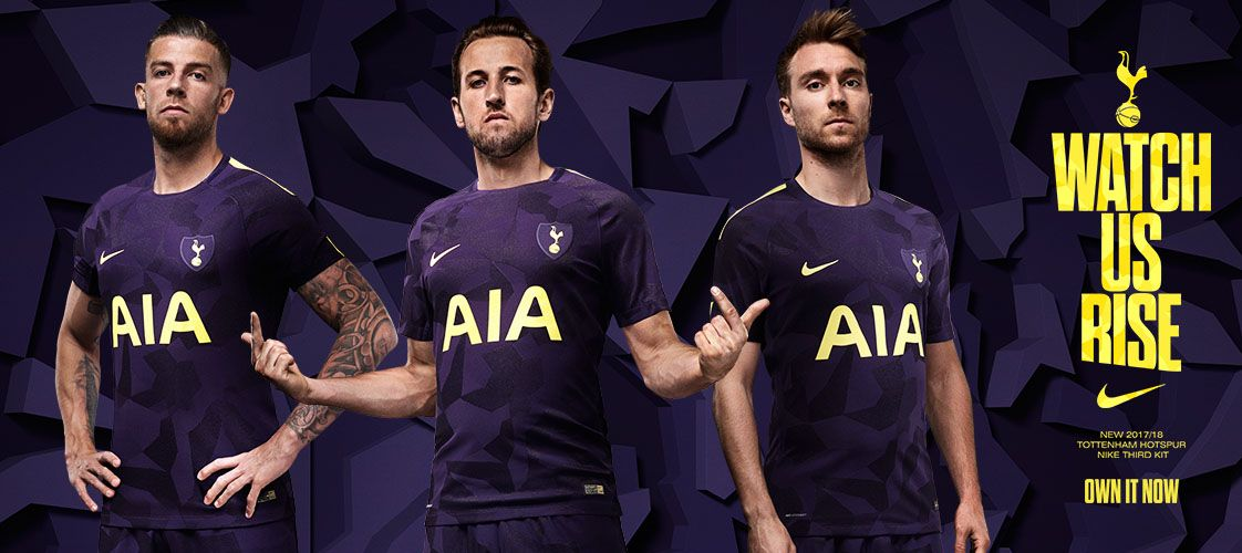 017e64a05d Terceira camisa do Tottenham 2017-2018 Nike Roxa