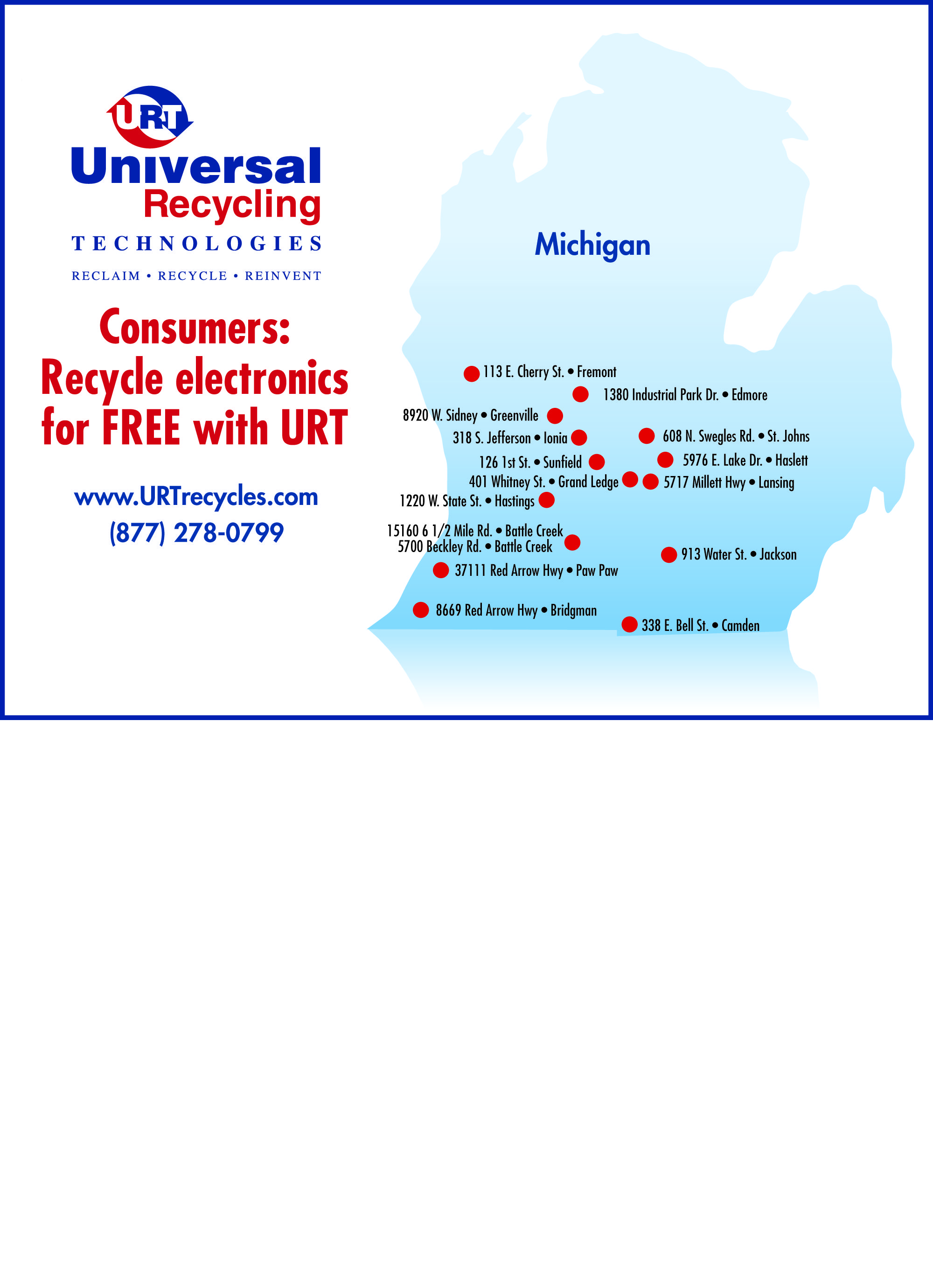 Urt Offers Free Electronics Recycling To Residents Nationwide Follow The Link To See All Convenient Urt Collection Electronic Recycling Electronics Recycling