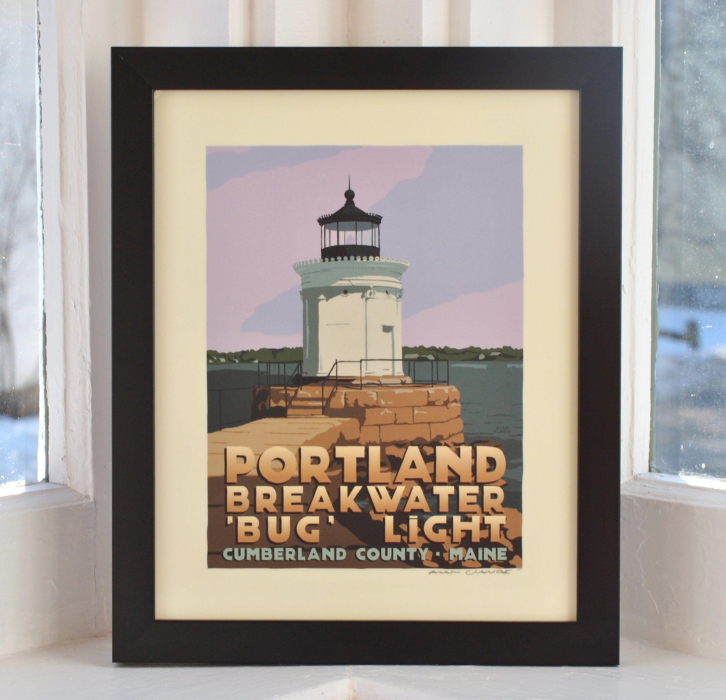 Lighthouse Bedroom Decor Portland Breakwater Bug Light Framed Print 8x10 Lighthouse