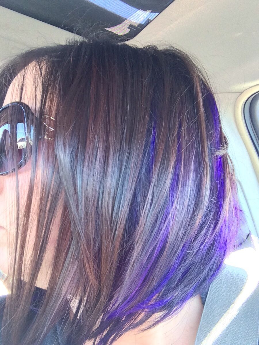 Dark Brown Hair With Purple Peekaboos Google Search Purple Hair Highlights Hidden Hair Color Hair Highlights