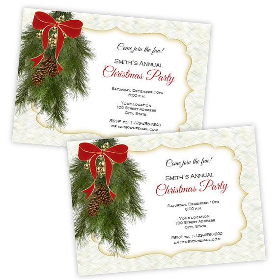 Holiday Party Invitation - Christmas Pine Swag - DIY Printable - holiday templates for word