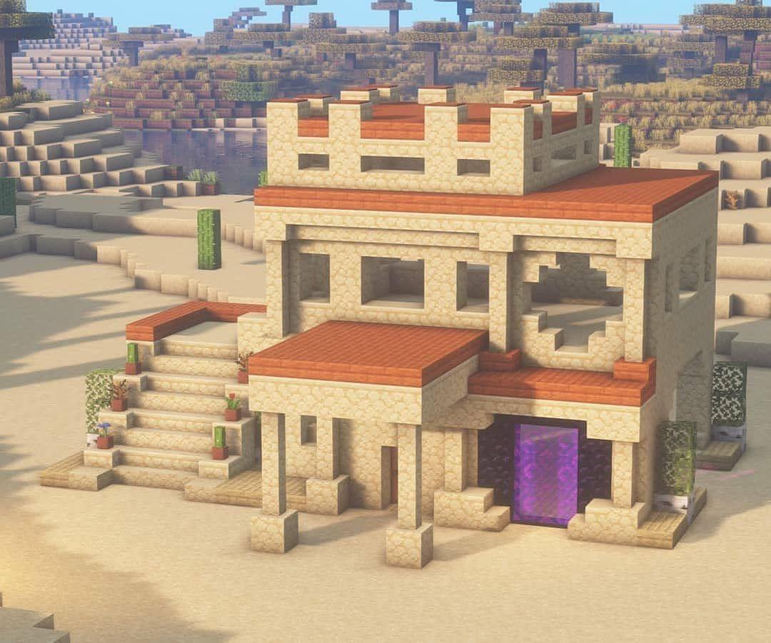 Minecraft Builds And Designs On Instagram Sand Stone House Comment Below F Minecraft Desert House Cute Minecraft Houses Minecraft House Designs