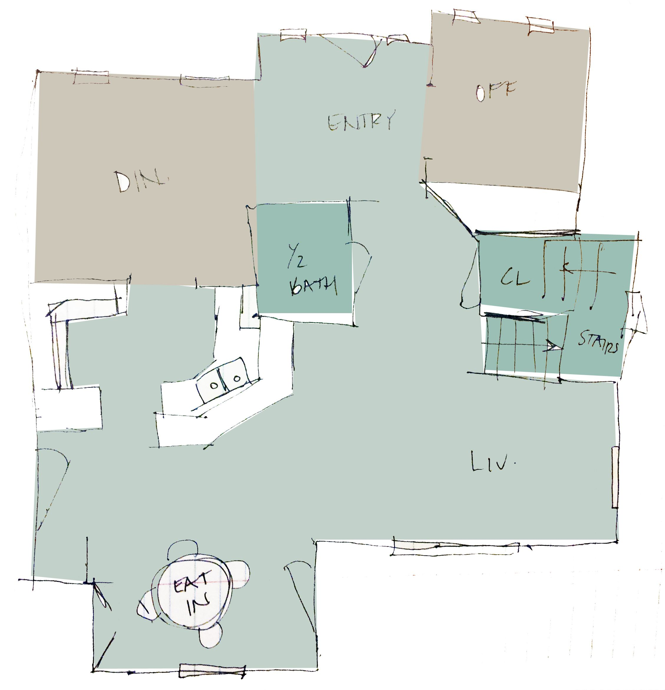 Painted Family Kitchen With Dining Nook: Paint Plan 1 Palladian Blue (entry, Living Room, Kitchen