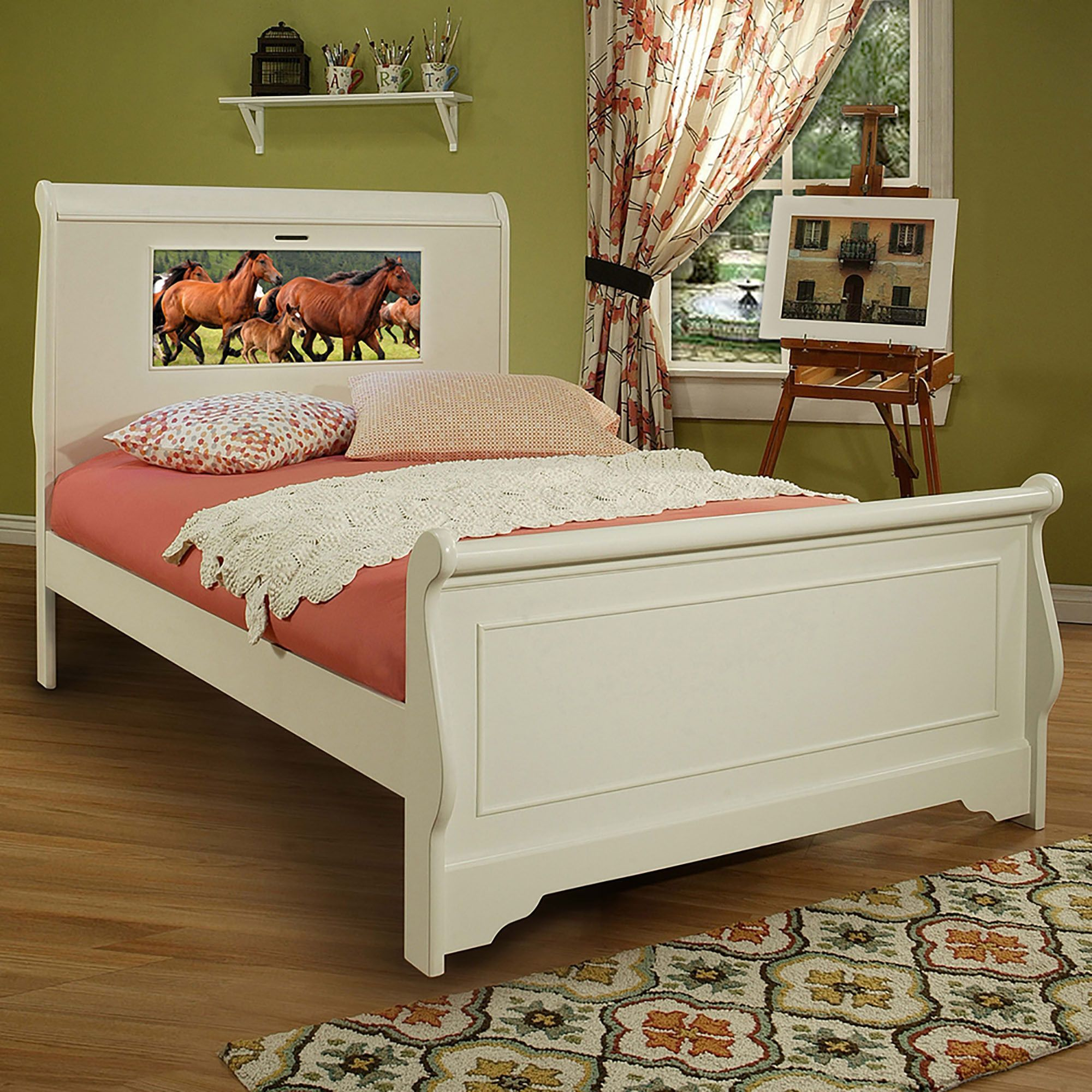Lightheaded Beds Edgewood Full Sleigh Bed In Satin White With