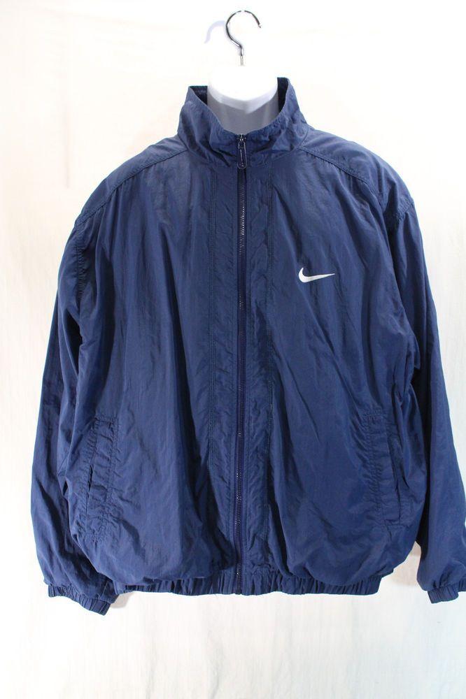 a2f1d03a9c Vintage 90s NIKE Full Zip Windbreaker Jacket Lined XL Blue White Swoosh  Vented  Nike  Windbreaker