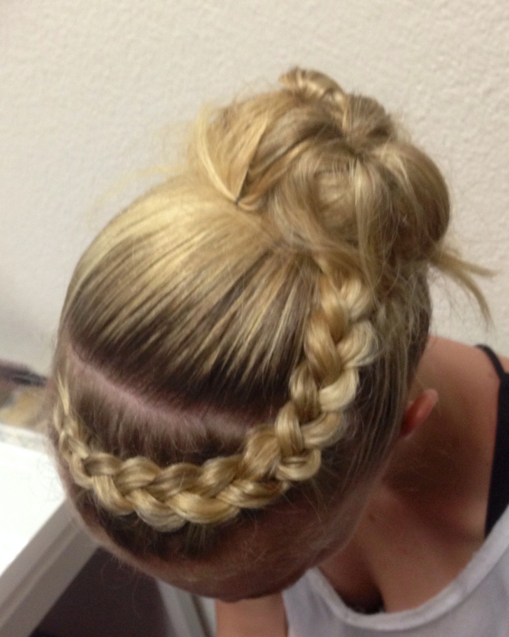 bohemian style braid into messy bun, great for a cute summer