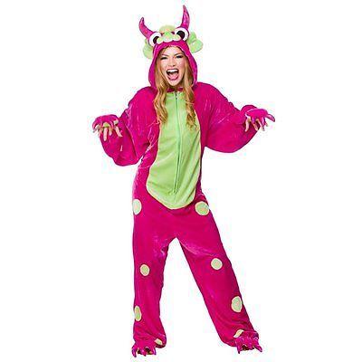 Monster (Pink  Green) Adult Costume, Ladies Onesie, Halloween One Size