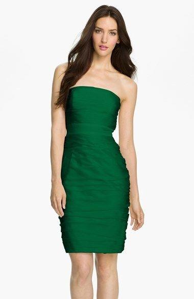 ML Monique Lhuillier Bridesmaids Ruched Strapless Cationic Chiffon Dress (Nordstrom Exclusive) (Regular & Plus Size)
