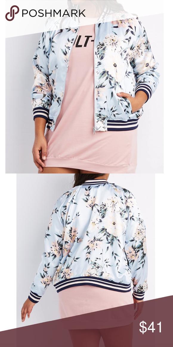 205c5e2b77981 Pink Plus Size floral stripe bomber jacket 1X NWT Adorable Pink   blue Plus  Size floral   stripe bomber jacket. Size 1X