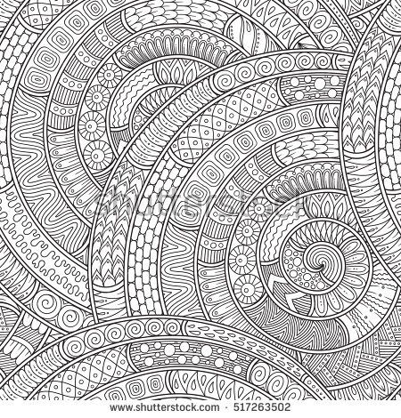 Vector Ethnic Pattern Can Be Used For Wallpaper Fills Coloring Books And Pages Kids Adults Black White