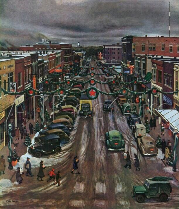 Vintage Christmas scene - downtown shoppers - 1940s - holiday - winter - snow