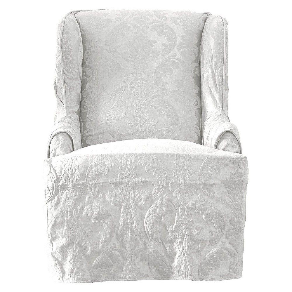Astonishing Sure Fit Matelasse Damask Wing Chair Slipcover Cover White Uwap Interior Chair Design Uwaporg
