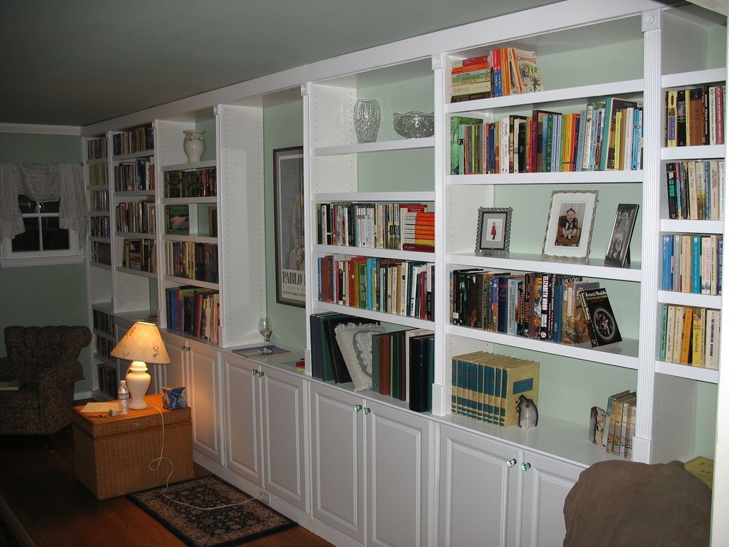 Instructable On Building Built In Bookcases Using Kitchen Base Cabinets Bookshelves Built In Built In Bookcase Stock Kitchen Cabinets