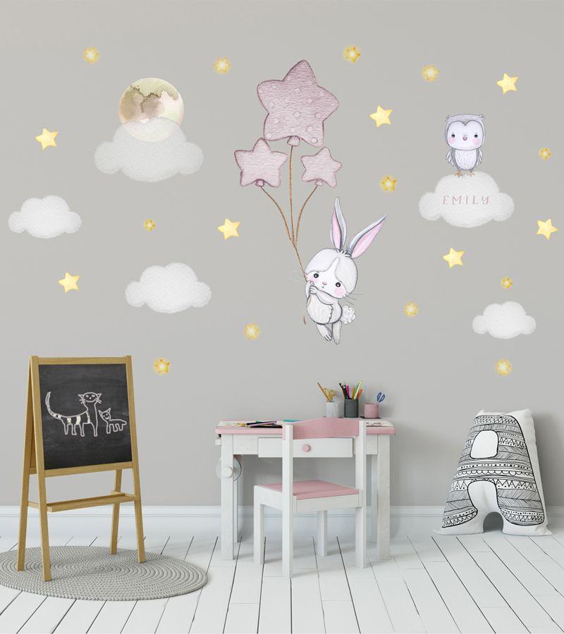 Bunny Nursery Wall Decal Gold
